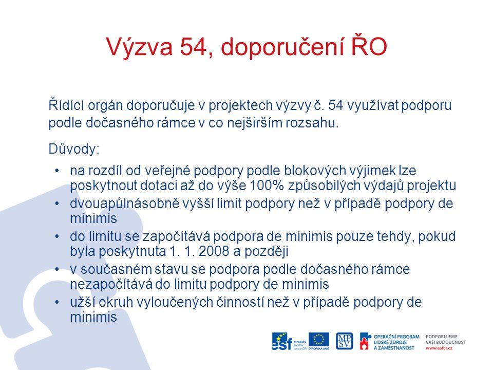 Výzva 54, doporučení ŘO Řídící orgán doporučuje v projektech výzvy č.