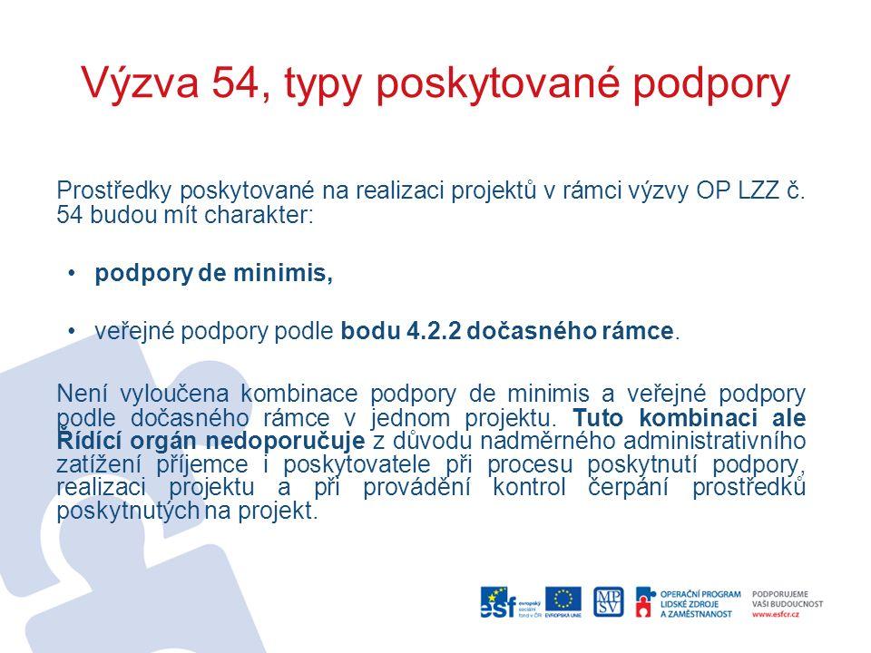 Výzva 54, typy poskytované podpory Prostředky poskytované na realizaci projektů v rámci výzvy OP LZZ č.