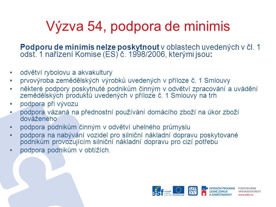 Výzva 54, podpora de minimis Podporu de minimis nelze poskytnout v oblastech uvedených v čl.