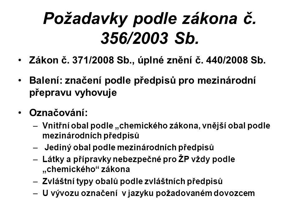 Požadavky podle zákona č. 356/2003 Sb. Zákon č. 371/2008 Sb., úplné znění č. 440/2008 Sb. Balení: značení podle předpisů pro mezinárodní přepravu vyho