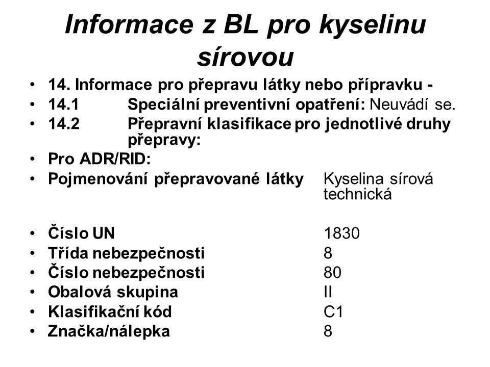Informace z BL pro kyselinu sírovou 14.