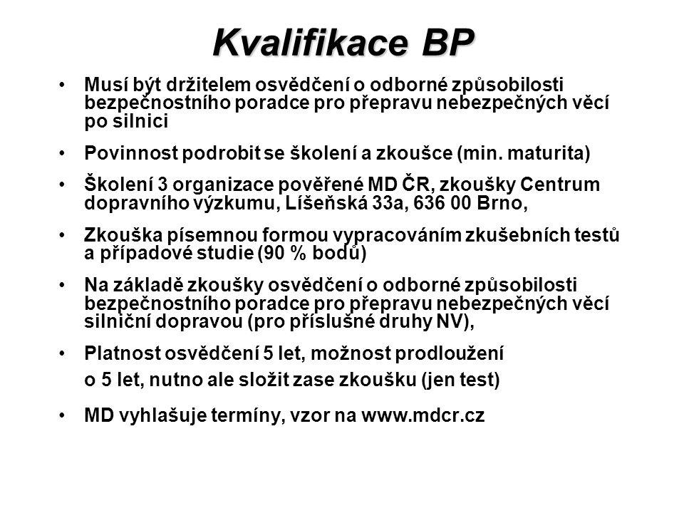Kvalifikace BP Musí být držitelem osvědčení o odborné způsobilosti bezpečnostního poradce pro přepravu nebezpečných věcí po silnici Povinnost podrobit se školení a zkoušce (min.
