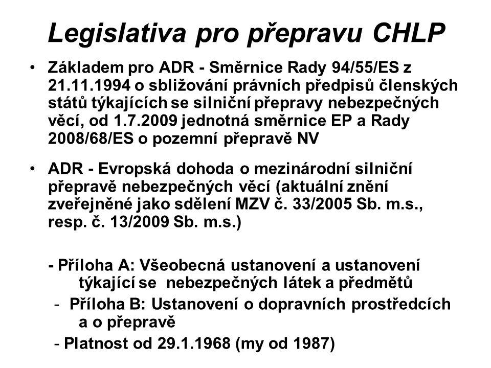 Legislativa pro přepravu CHLP Základem pro ADR - Směrnice Rady 94/55/ES z 21.11.1994 o sbližování právních předpisů členských států týkajících se siln