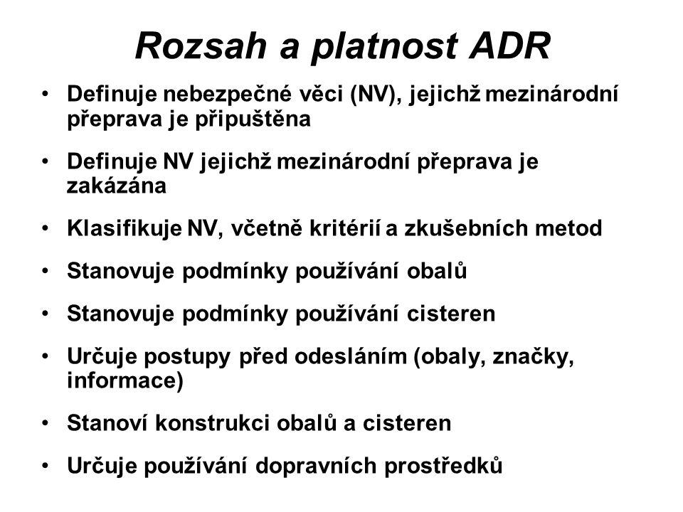 Rozsah a platnost ADR Definuje nebezpečné věci (NV), jejichž mezinárodní přeprava je připuštěna Definuje NV jejichž mezinárodní přeprava je zakázána K