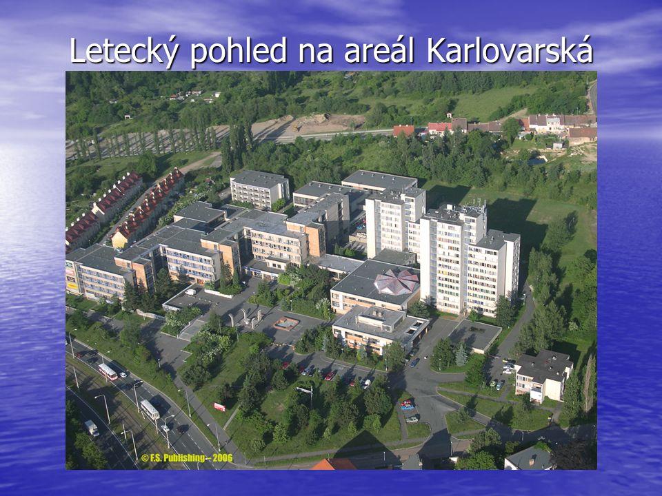 Letecký pohled na areál Karlovarská