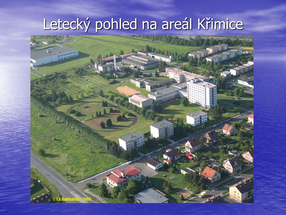Letecký pohled na areál Křimice