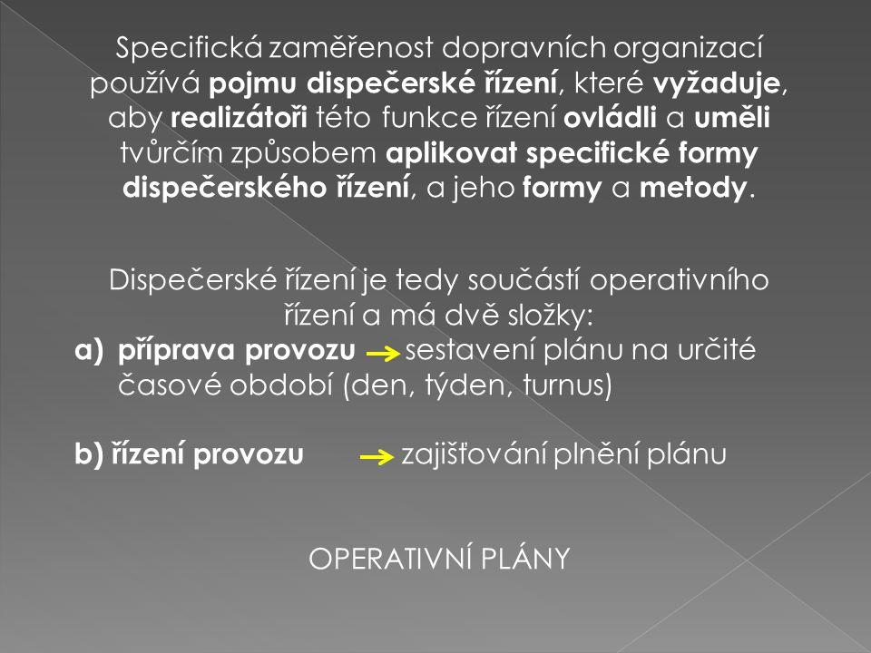 V dopravních organizacích se sestavuje celá řada operativních plánů : 1.G rafikony 2.