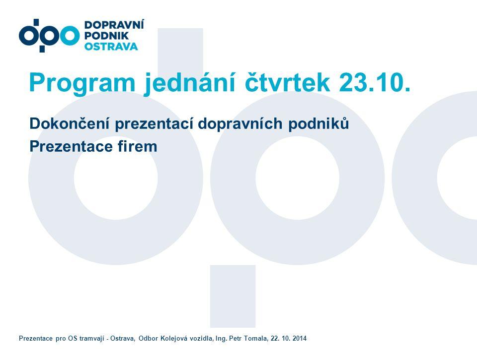 Program jednání čtvrtek 23.10.