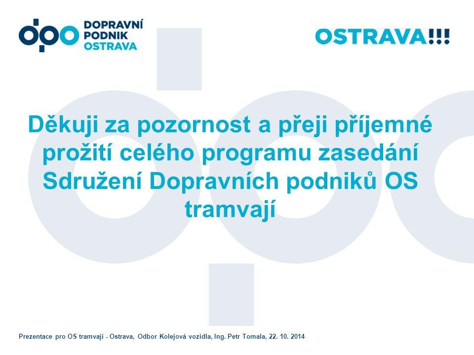 Děkuji za pozornost a přeji příjemné prožití celého programu zasedání Sdružení Dopravních podniků OS tramvají Prezentace pro OS tramvají - Ostrava, Odbor Kolejová vozidla, Ing.