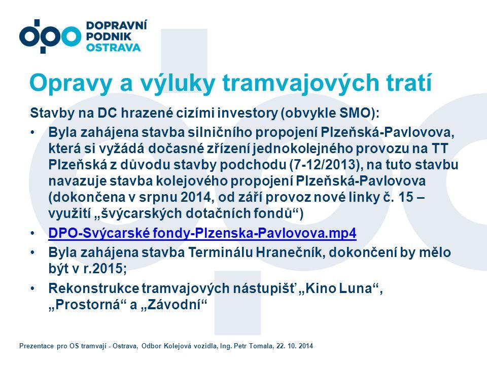 Ostatní investice v DPO Uzavřena smlouva na dodávku 10 ks trolejbusů s dotacemi ROP (6+4) - superkapacitátory Příprava projektu a vyřizování dotací na dodávky autobusů CNG a s tím související investice do infrastruktury (plničky, stavební úpravy v halách,…) Výstavba Tb tratě a napojení na terminál Hranečník Prezentace pro OS tramvají - Ostrava, Odbor Kolejová vozidla, Ing.