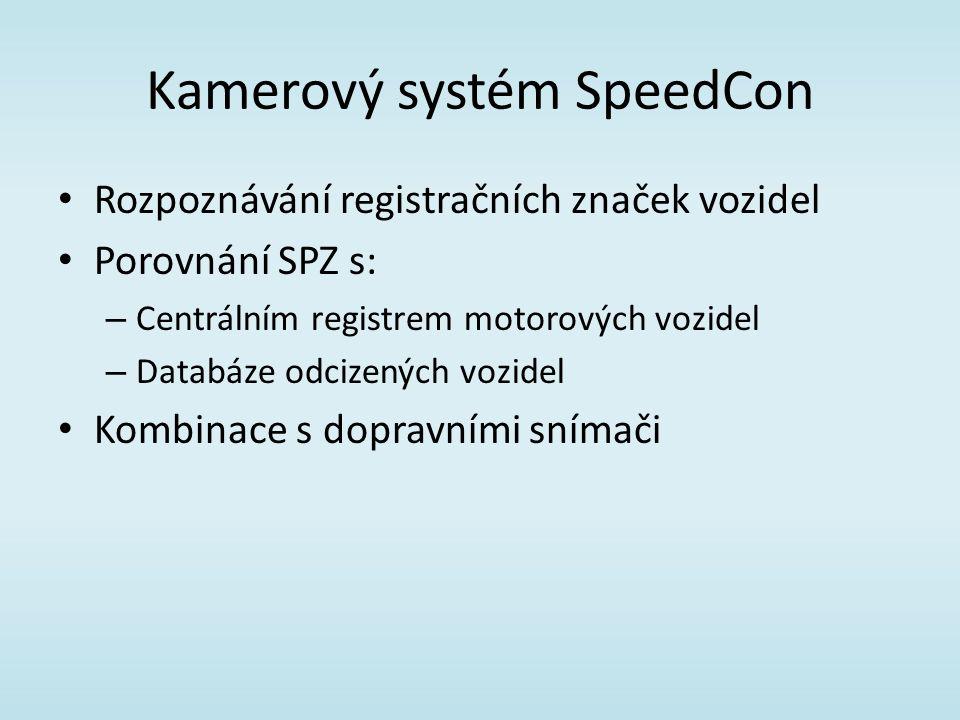 Kamerový systém SpeedCon Rozpoznávání registračních značek vozidel Porovnání SPZ s: – Centrálním registrem motorových vozidel – Databáze odcizených vozidel Kombinace s dopravními snímači
