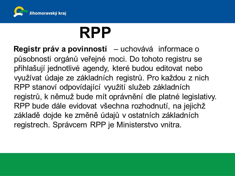 Registr práv a povinností – uchovává informace o působnosti orgánů veřejné moci.