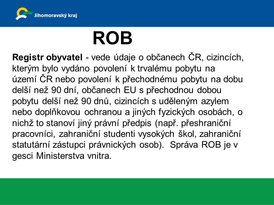 ROS Registr osob eviduje všechny typy právnických osob a jejich organizační složky, podnikající fyzické osoby, podnikající zahraniční osoby a orgány veřejné moci.