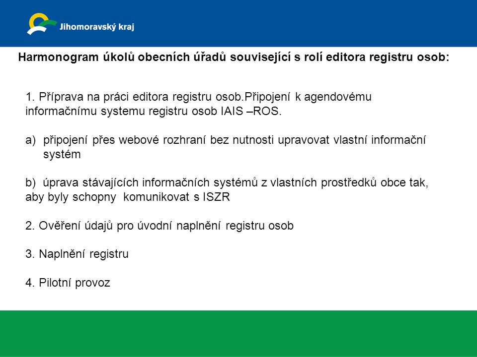 Harmonogram úkolů obecních úřadů související s rolí editora registru osob: 1.