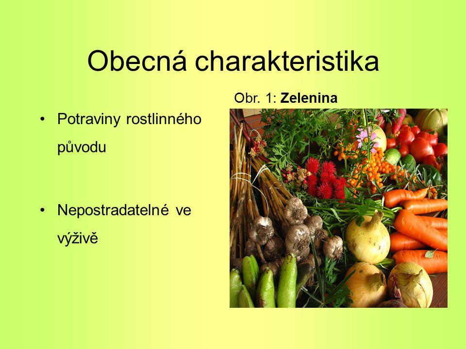 Obecná charakteristika Potraviny rostlinného původu Nepostradatelné ve výživě Obr. 1: Zelenina