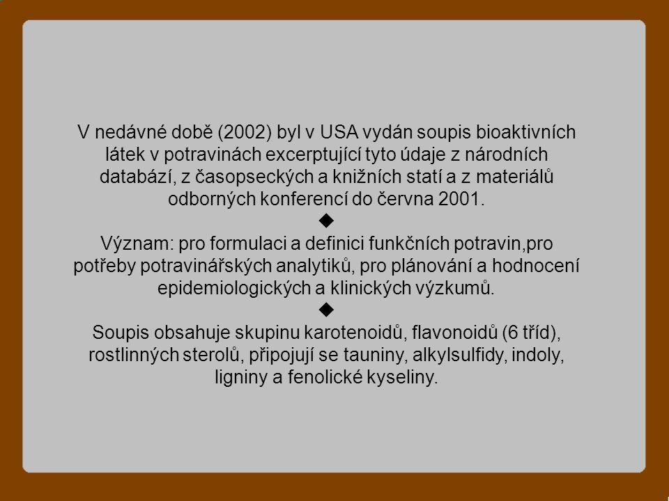 V nedávné době (2002) byl v USA vydán soupis bioaktivních látek v potravinách excerptující tyto údaje z národních databází, z časopseckých a knižních statí a z materiálů odborných konferencí do června 2001.