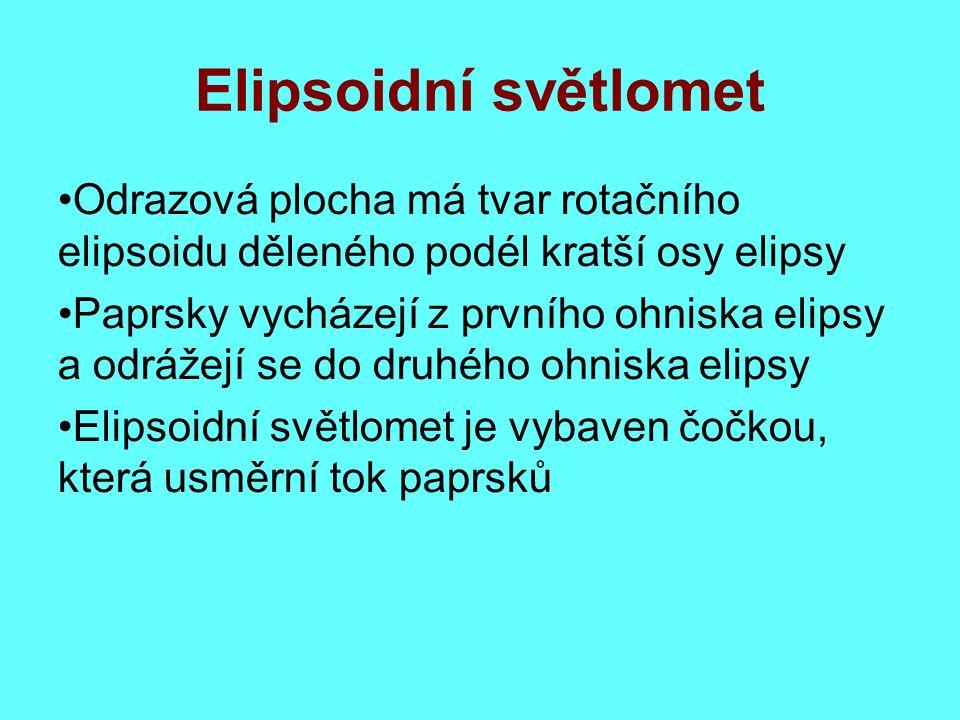 Elipsoidní světlomet Odrazová plocha má tvar rotačního elipsoidu děleného podél kratší osy elipsy Paprsky vycházejí z prvního ohniska elipsy a odrážejí se do druhého ohniska elipsy Elipsoidní světlomet je vybaven čočkou, která usměrní tok paprsků