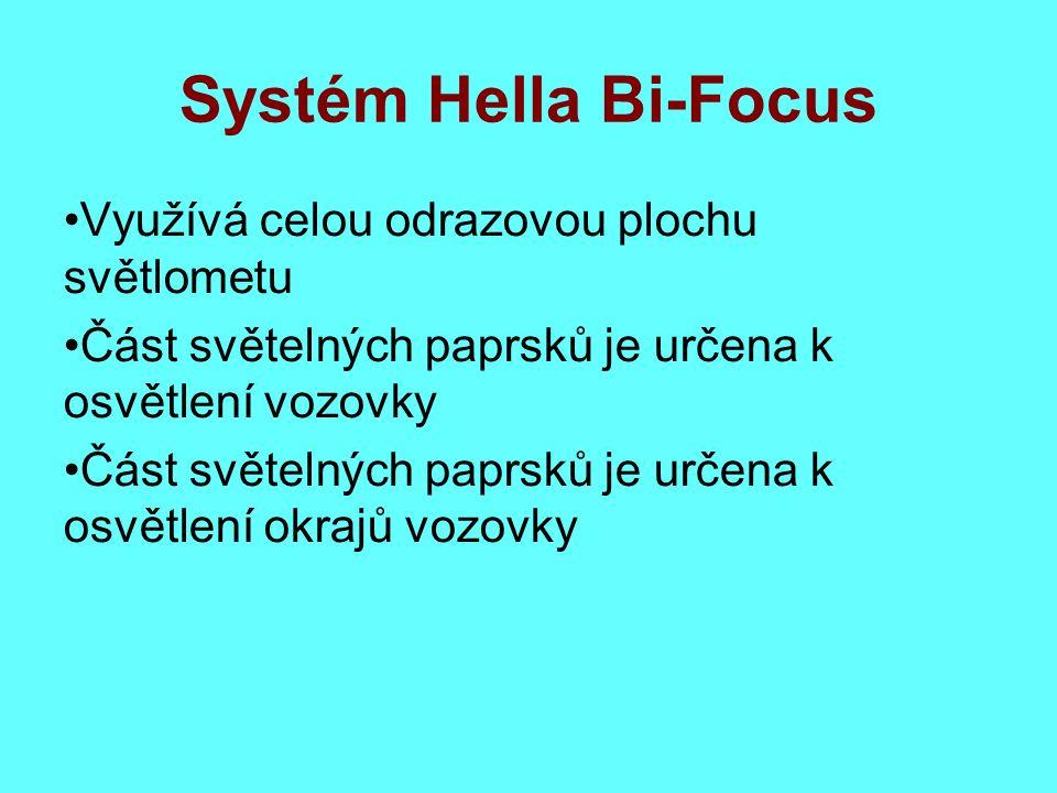Systém Hella Bi-Focus Využívá celou odrazovou plochu světlometu Část světelných paprsků je určena k osvětlení vozovky Část světelných paprsků je určena k osvětlení okrajů vozovky