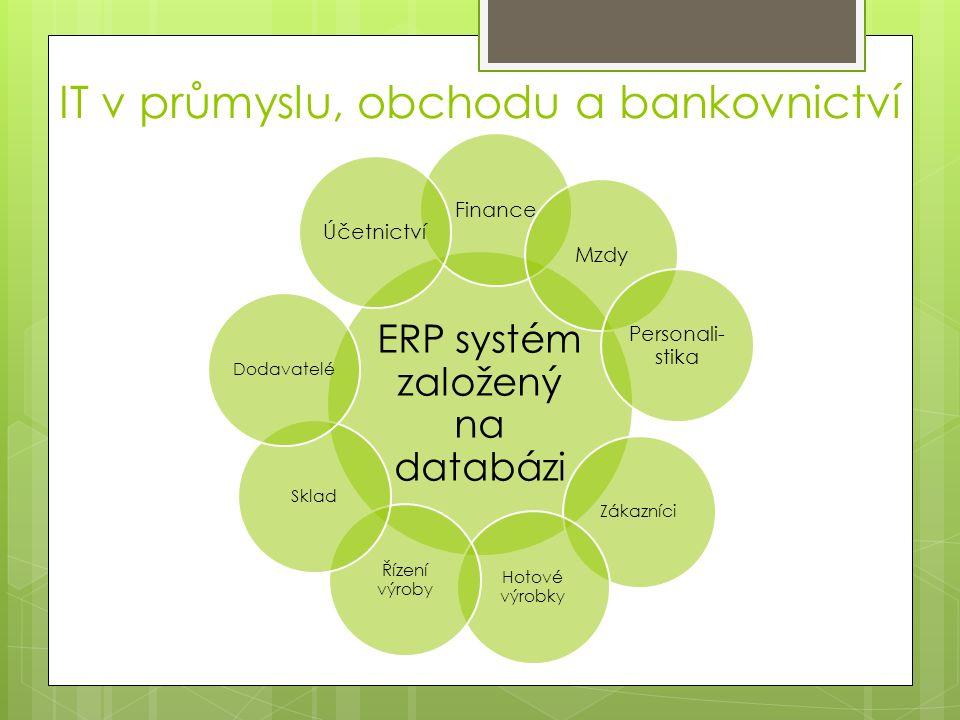IT v průmyslu, obchodu a bankovnictví  komunikační služby umožňují firmě přes VPN (virtual private network) zahrnout do své sítě i LAN sítě vzdálených počítačů  internet – zrychluje obchodní transakce  účetnictví, pohledávky a závazky, daně a sklad – aplikace, které potřebují malé firmy provozovat na svém počítači
