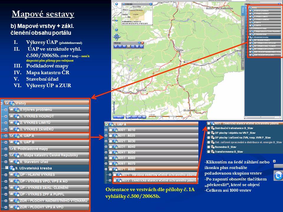 Mapové sestavy I.Výkresy ÚAP (předdefinované) II. ÚAP ve struktuře vyhl.