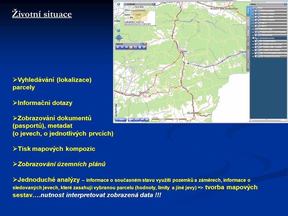 Životní situace  Vyhledávání (lokalizace) parcely  Informační dotazy  Zobrazování dokumentů (pasportů), metadat (o jevech, o jednotlivých prvcích)  Tisk mapových kompozic  Zobrazování územních plánů  Jednoduché analýzy – informace o současném stavu využití pozemků a záměrech, informace o sledovaných jevech, které zasahují vybranou parcelu (hodnoty, limity a jiné jevy) => tvorba mapových sestav….nutnost interpretovat zobrazená data !!!