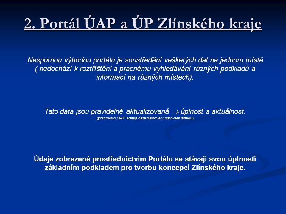 2. Portál ÚAP a ÚP Zlínského kraje Nespornou výhodou portálu je soustředění veškerých dat na jednom místě ( nedochází k roztříštění a pracnému vyhledá
