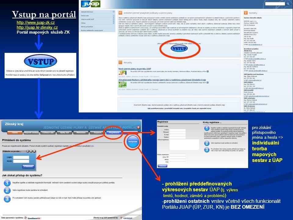 Vstup na portál http://www.juap-zk.cz http://juap.kr-zlinsky.cz Portál mapových služeb ZK pro získání přístupového jména a hesla => individuální tvorba mapových sestav z ÚAP - prohlížení předdefinovaných výkresových sestav ÚAP ( tj.