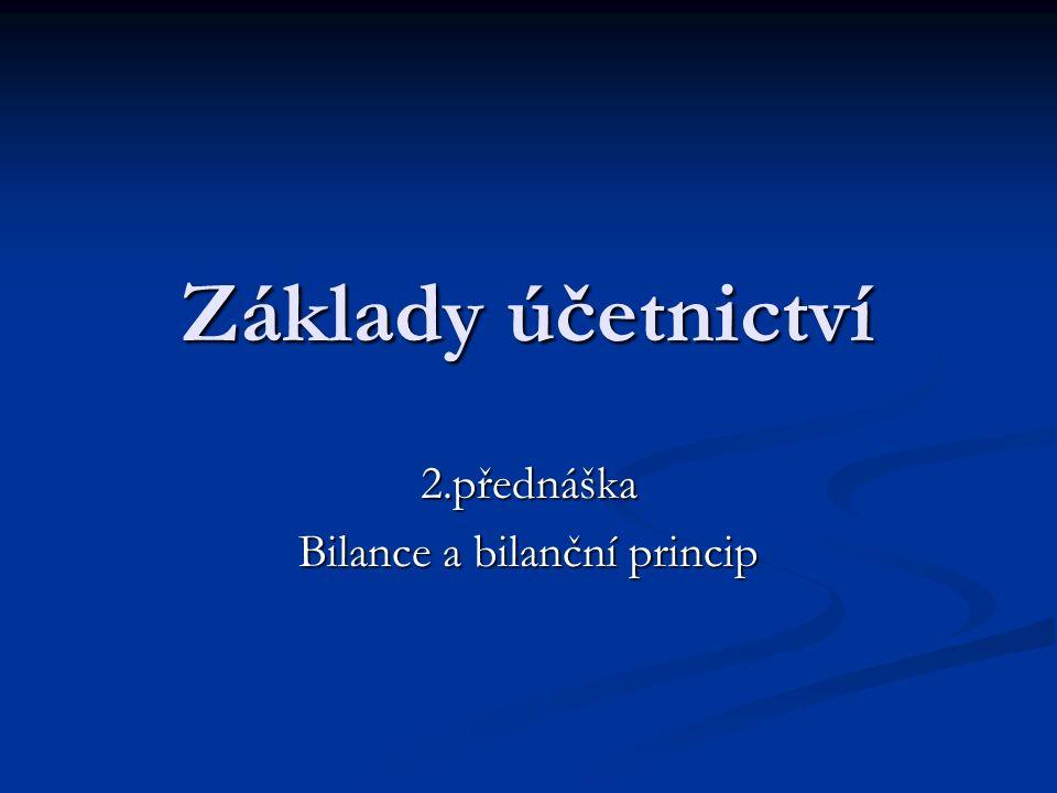 Základy účetnictví 2.přednáška Bilance a bilanční princip