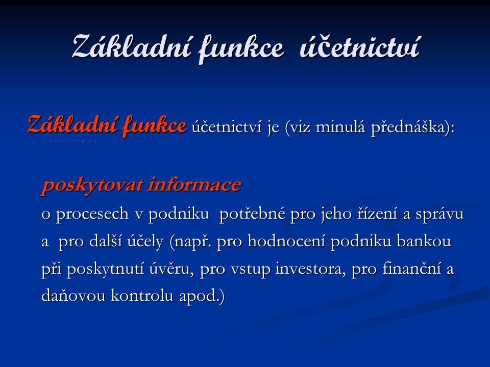 Základní funkce ú č etnictví Základní funkce účetnictví je (viz minulá přednáška): Základní funkce účetnictví je (viz minulá přednáška): poskytovat in