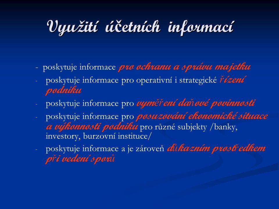 Využití ú č etních informací - poskytuje informace pro ochranu a správu majetku - - poskytuje informace pro operativní i strategické ř ízení podniku -