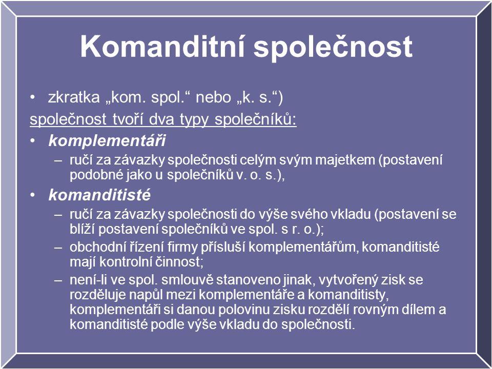 """Komanditní společnost zkratka """"kom. spol. nebo """"k."""