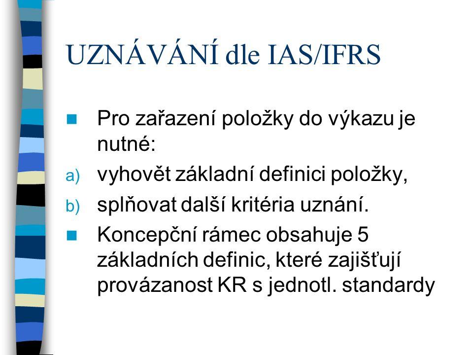UZNÁVÁNÍ dle IAS/IFRS Pro zařazení položky do výkazu je nutné: a) vyhovět základní definici položky, b) splňovat další kritéria uznání. Koncepční ráme