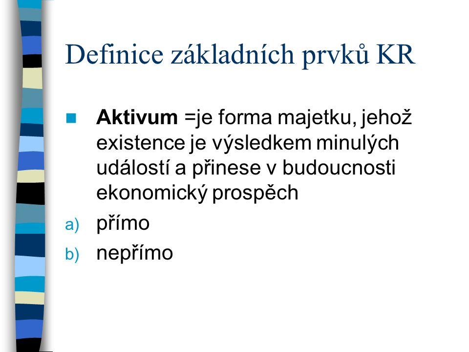 Definice základních prvků KR Aktivum =je forma majetku, jehož existence je výsledkem minulých událostí a přinese v budoucnosti ekonomický prospěch a) přímo b) nepřímo