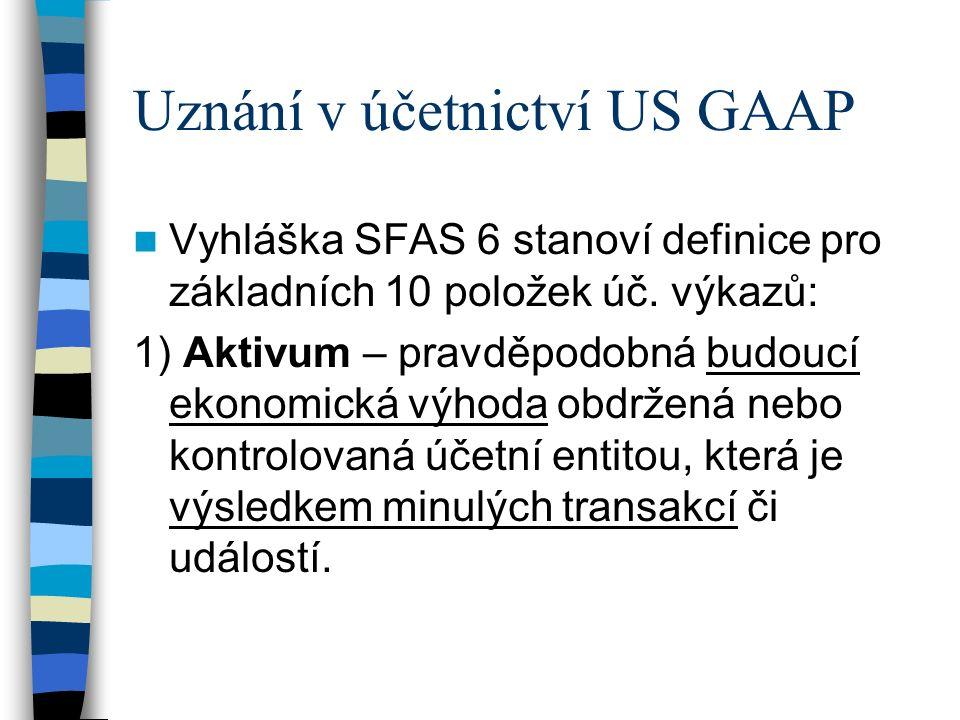 Uznání v účetnictví US GAAP Vyhláška SFAS 6 stanoví definice pro základních 10 položek úč. výkazů: 1) Aktivum – pravděpodobná budoucí ekonomická výhod