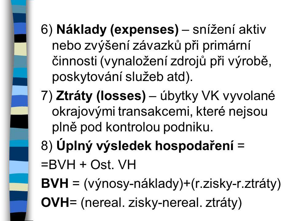 6) Náklady (expenses) – snížení aktiv nebo zvýšení závazků při primární činnosti (vynaložení zdrojů při výrobě, poskytování služeb atd).