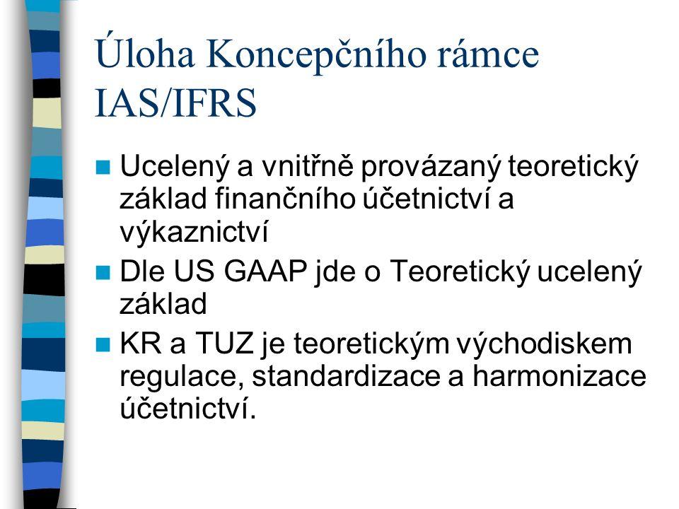 Úloha Koncepčního rámce IAS/IFRS Ucelený a vnitřně provázaný teoretický základ finančního účetnictví a výkaznictví Dle US GAAP jde o Teoretický ucelený základ KR a TUZ je teoretickým východiskem regulace, standardizace a harmonizace účetnictví.