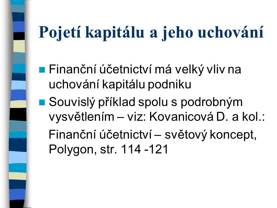 Pojetí kapitálu a jeho uchování Finanční účetnictví má velký vliv na uchování kapitálu podniku Souvislý příklad spolu s podrobným vysvětlením – viz: Kovanicová D.