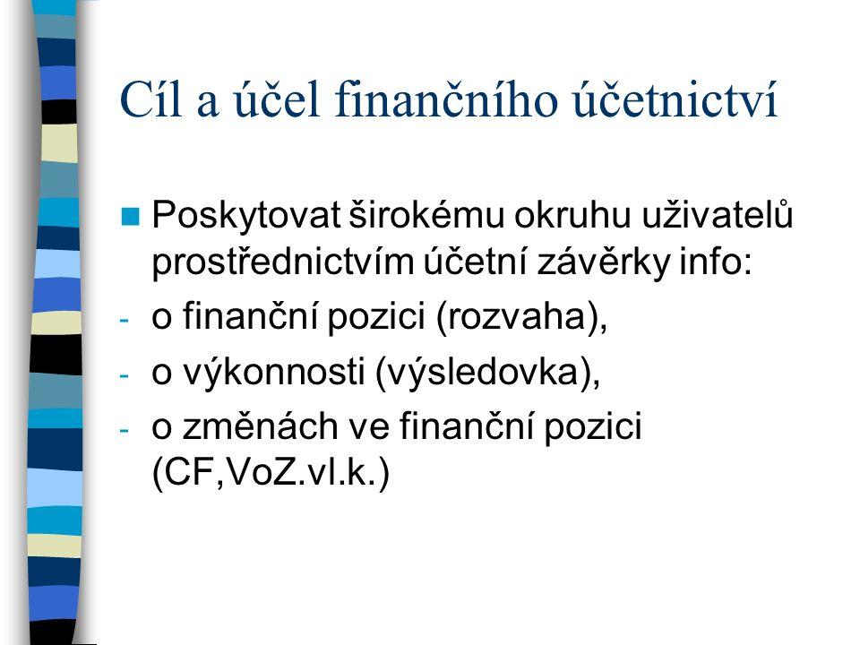 Cíl a účel finančního účetnictví Poskytovat širokému okruhu uživatelů prostřednictvím účetní závěrky info: - o finanční pozici (rozvaha), - o výkonnosti (výsledovka), - o změnách ve finanční pozici (CF,VoZ.vl.k.)