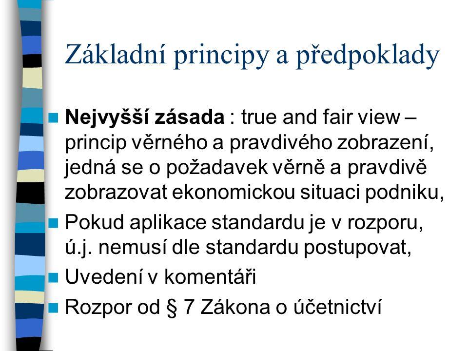 Základní principy a předpoklady Nejvyšší zásada : true and fair view – princip věrného a pravdivého zobrazení, jedná se o požadavek věrně a pravdivě zobrazovat ekonomickou situaci podniku, Pokud aplikace standardu je v rozporu, ú.j.