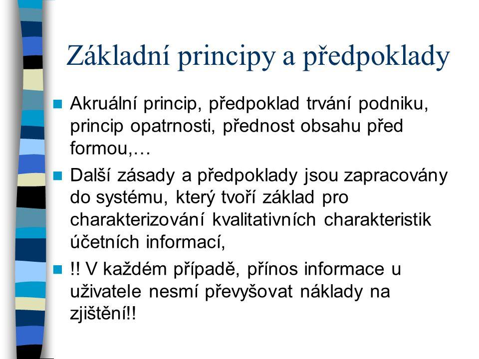 Základní principy a předpoklady Akruální princip, předpoklad trvání podniku, princip opatrnosti, přednost obsahu před formou,… Další zásady a předpokl