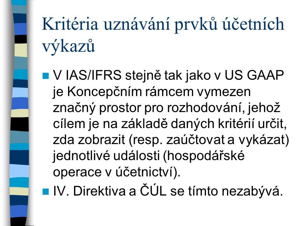 UZNÁVÁNÍ dle IAS/IFRS Pro zařazení položky do výkazu je nutné: a) vyhovět základní definici položky, b) splňovat další kritéria uznání.