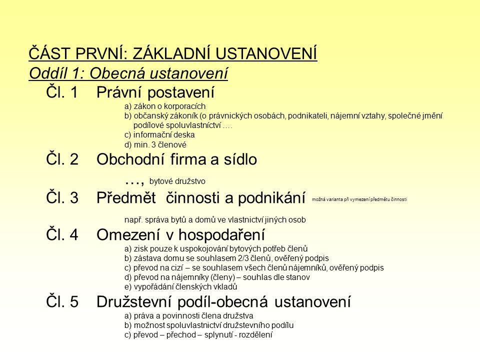 ČÁST PRVNÍ: ZÁKLADNÍ USTANOVENÍ Oddíl 1: Obecná ustanovení Čl.