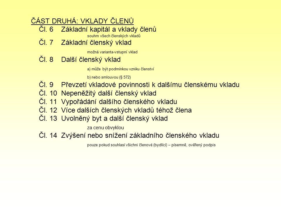 ČÁST DRUHÁ: VKLADY ČLENŮ Čl. 6 Základní kapitál a vklady členů souhrn všech členských vkladů Čl.