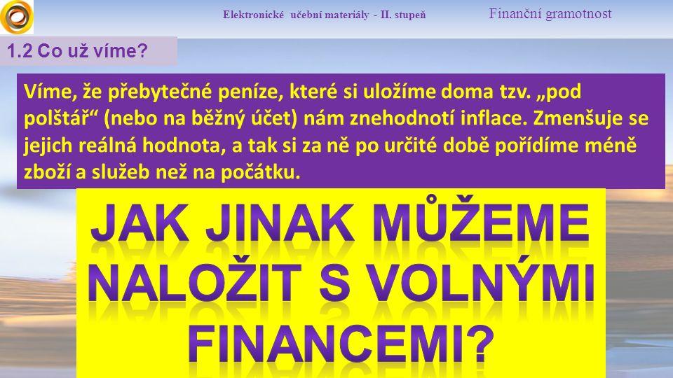 """Elektronické učební materiály - II. stupeň Finanční gramotnost 1.2 Co už víme? Víme, že přebytečné peníze, které si uložíme doma tzv. """"pod polštář"""" (n"""