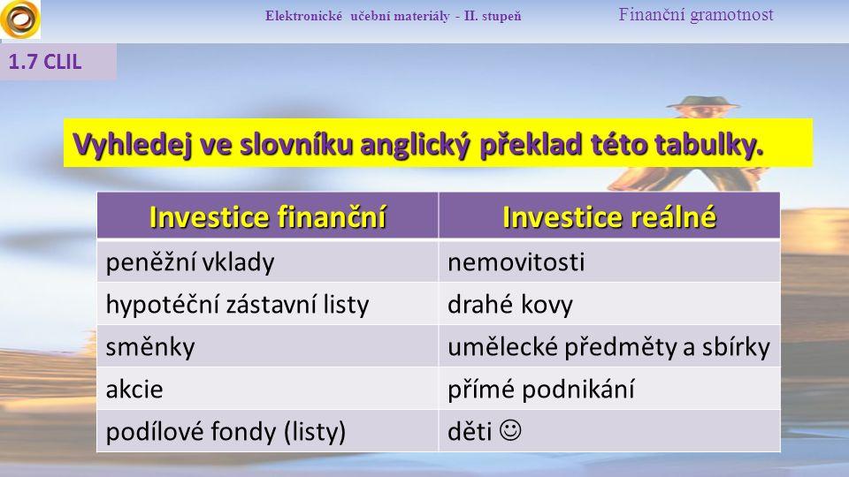 Elektronické učební materiály - II. stupeň Finanční gramotnost 1.7 CLIL Investice finanční Investice reálné peněžní vkladynemovitosti hypotéční zástav