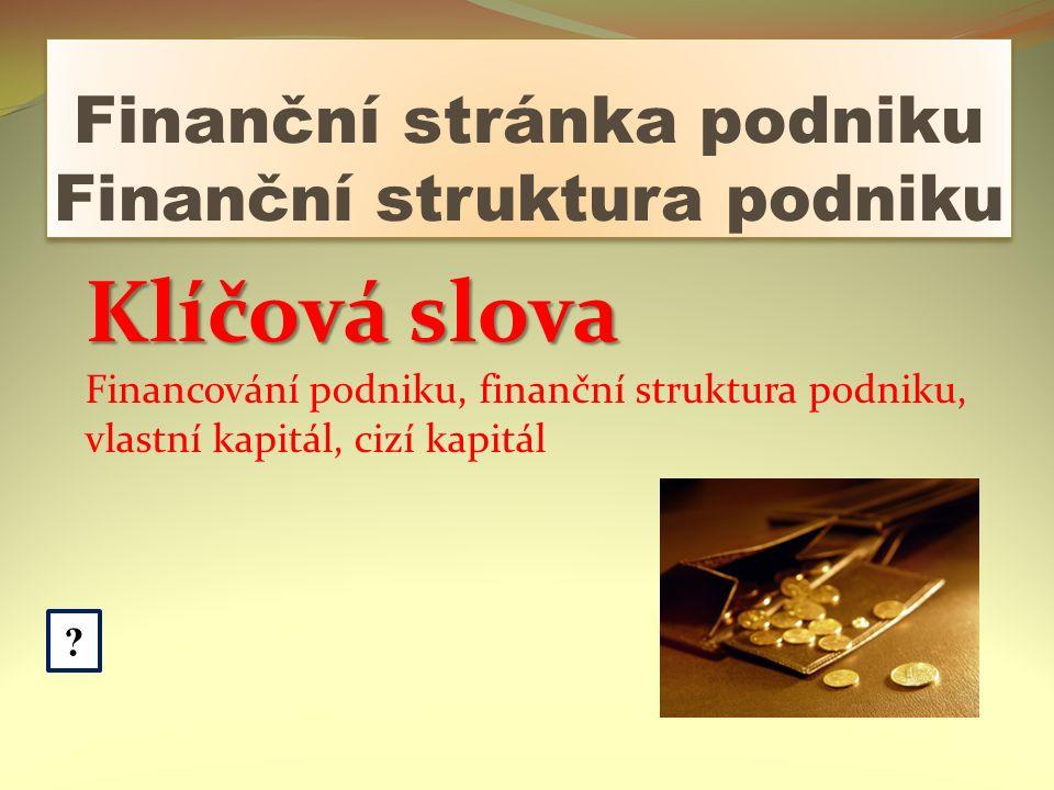 Finanční stránka podniku Finanční struktura podniku .