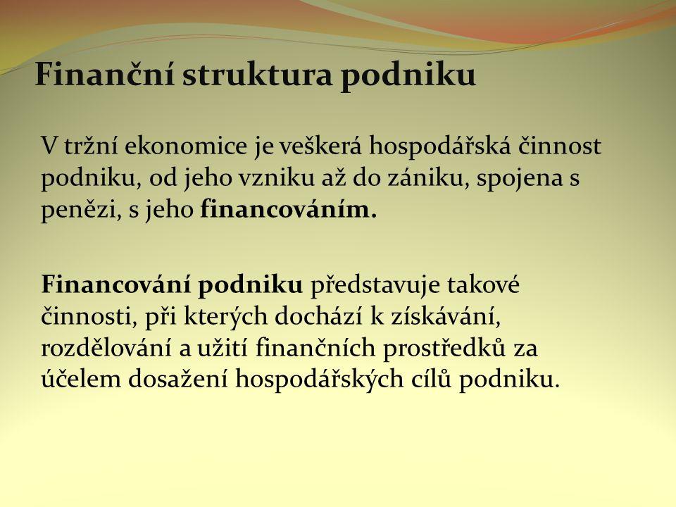 Finanční struktura podniku V tržní ekonomice je veškerá hospodářská činnost podniku, od jeho vzniku až do zániku, spojena s penězi, s jeho financováním.