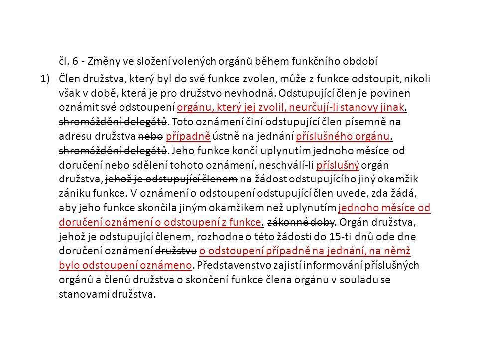 čl. 6 - Změny ve složení volených orgánů během funkčního období 1)Člen družstva, který byl do své funkce zvolen, může z funkce odstoupit, nikoli však