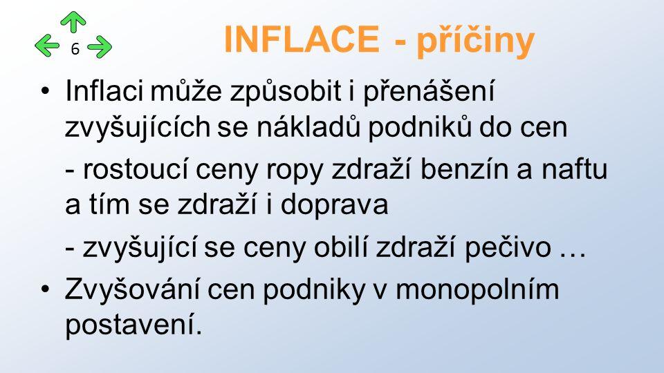 Inflaci může způsobit i přenášení zvyšujících se nákladů podniků do cen - rostoucí ceny ropy zdraží benzín a naftu a tím se zdraží i doprava - zvyšující se ceny obilí zdraží pečivo … Zvyšování cen podniky v monopolním postavení.