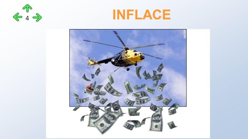 """Hlavní příčinou bývá nadměrné množství peněz v oběhu: - nízké úrokové sazby u úvěrů - neúměrné zvyšování mezd díky odborům - """"štědrý stát => neúměrný růst mezd ve státní sféře, rychlý růst důchodů, dotace… INFLACE - příčiny 5"""